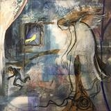 Angel and Bird by Bridget Rust, Painting, Mixed Media