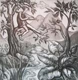 Enchanting the birds by Bridget Rust, Artist Print, Etching