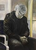 Man in a mask by Bridget Rust, Painting, Oil on Board