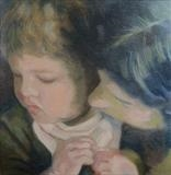 Mother and child by Bridget Rust, Painting, Oil on Board