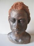 Portrait of Lottie by Bridget Rust, Sculpture, Fired Clay