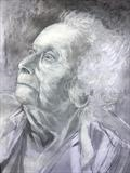 Portrait of Rene by Bridget Rust, Drawing, Charcoal, pencil, white chalk, acrylic
