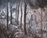 Show not the fire within your heart by Bridget Rust, Artist Print, Drypoint and Chine Colle