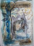 The Moon's Lament by Bridget Rust, Painting, Mixed Media on paper